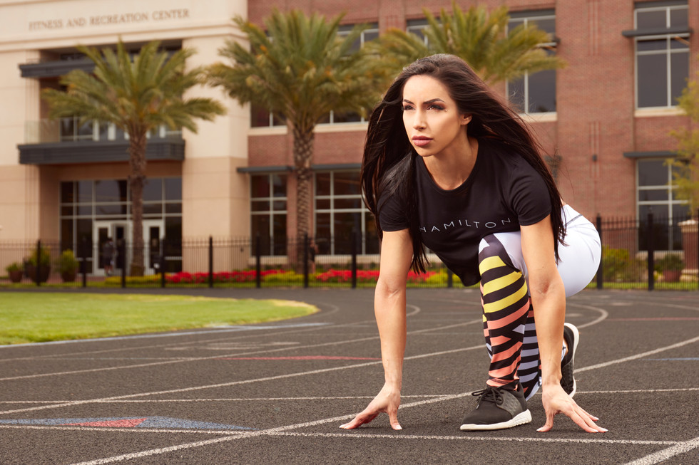 Hollywood Hamilton Clothing Women's Streetleisure Collection 2018 zig zag leggings and black crop top running tampa