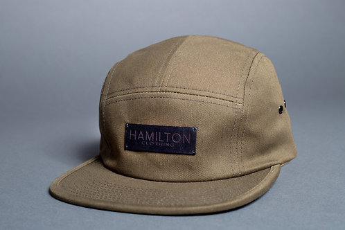 Front view army green and leather Hollywood Hamilton Clothing streetwear 5 panel