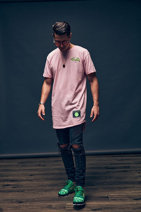 Tampa Streetwear HMLTN Clothing Cursive tampa extended length tee pink lime george hamilton