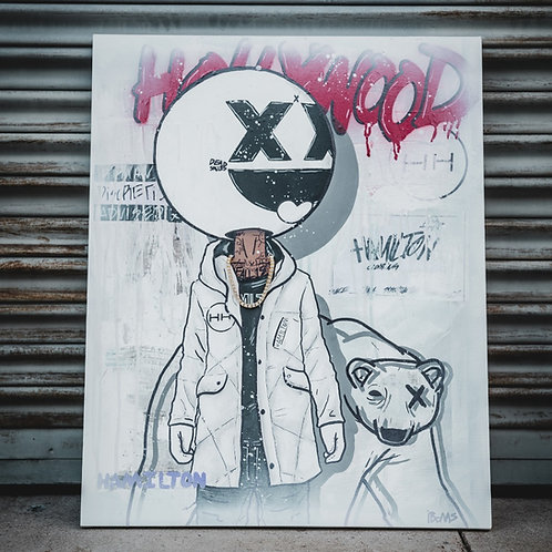 HH x I.boms White Hype mixed media canvas art