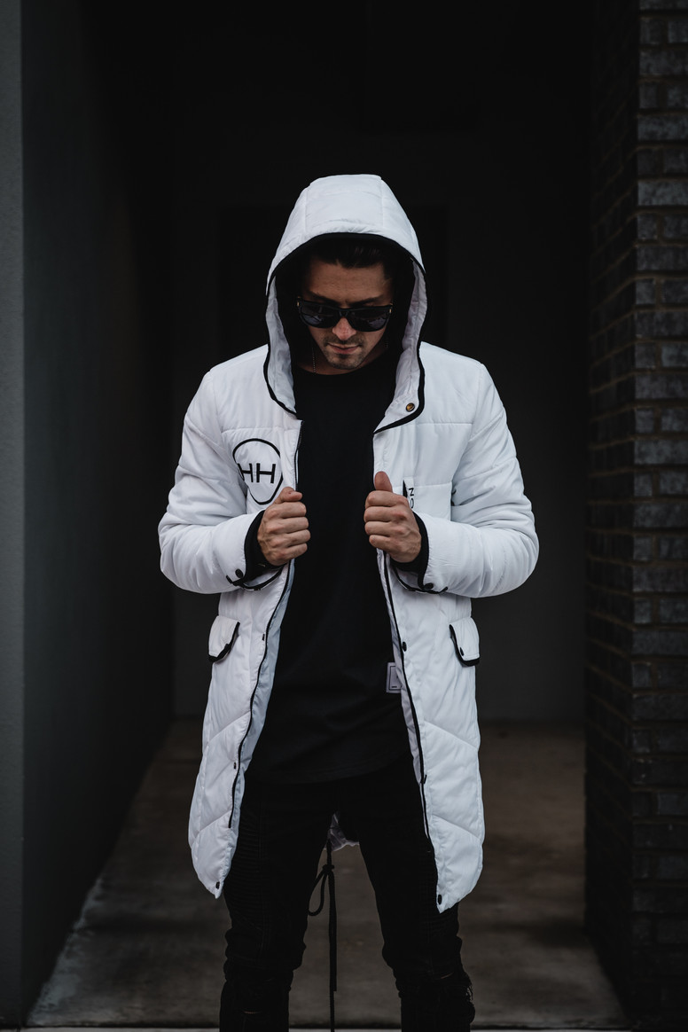 Hyper white parka jacket Hollywood Hamilton Clothing kickstarter