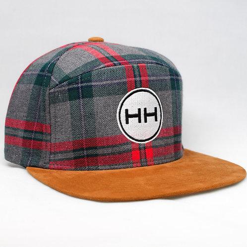 hh circle logo plaid hat side view
