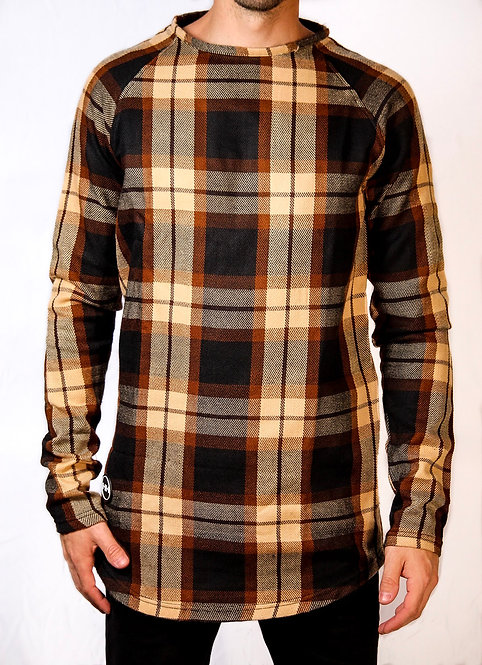 Hollywood Hamilton men's long sleeve button down black brown orange