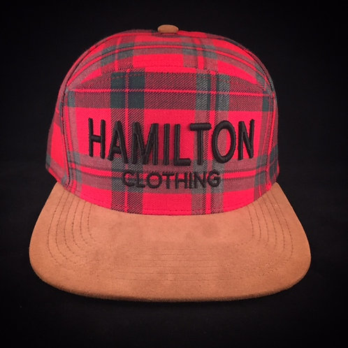 front view red black plaid suede hat