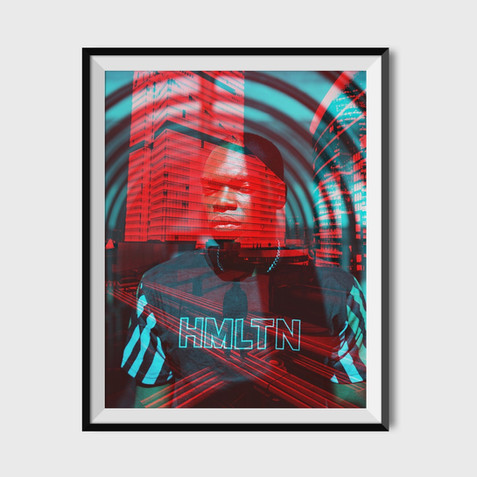 Hollywood Hamilton Clothing RGB art collab with AA.Vision in a black frame