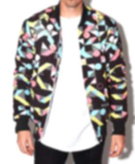 Hollywood Hamilton Clothing Abstract Bomber Jacket pink black yellow tampa mens clothing