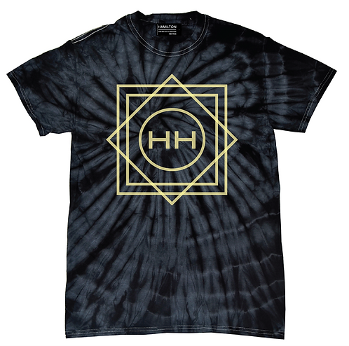 Hollywood Hamilton geometric tie dye tee, blue tie dye, navy tie dye tee, navy and yellow tie dye tee