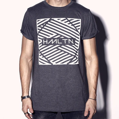 front view zig zag rolled cuff tee heather grey hollywood hamilton clothing