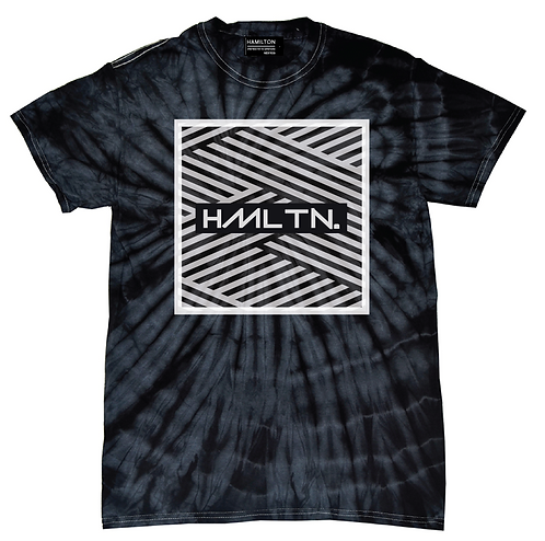 Hollywood Hamilton tie dye tee, navy tie dye tshirt, navy and white tie dye shirt, mens tie dye, hollywood hamilton zig zag