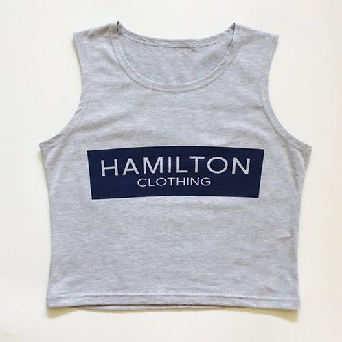 Hollywood hamilton womens grey crop top with navy bar logo streetstyle womens streetwear croptop