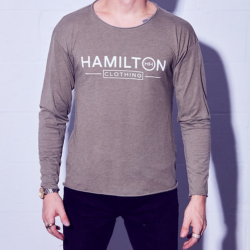 front view of classic raw neck relaxed long sleeve green