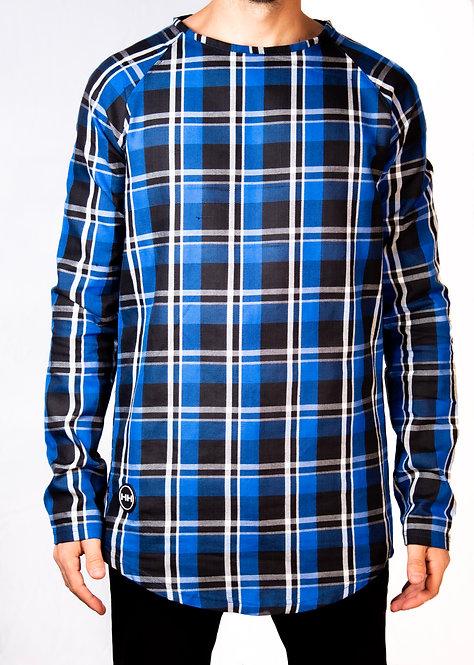 hollywood hamilton blue checkered long sleeve tshirt