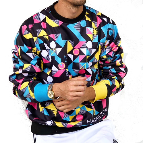 Hollywood Hamilton Abstract Crewneck sweatshirt, 80's MTV logo design, Streetwear fashion, bright color crewneck sweatshirt