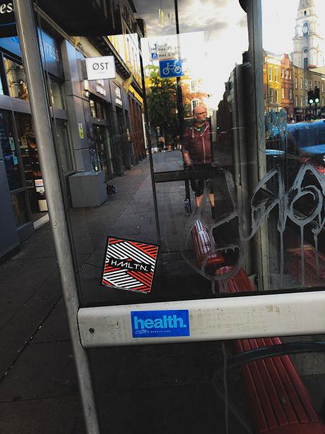 London bus stop stickerbomb london sticker tag london street art