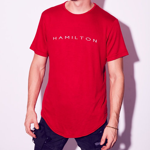 front view hamilton red scallop tee