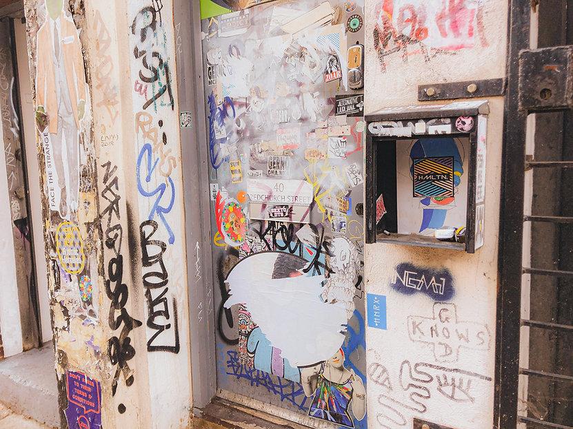 HollywoodHamilton sticker bomb london shoreditch street art sticker tag ben eine