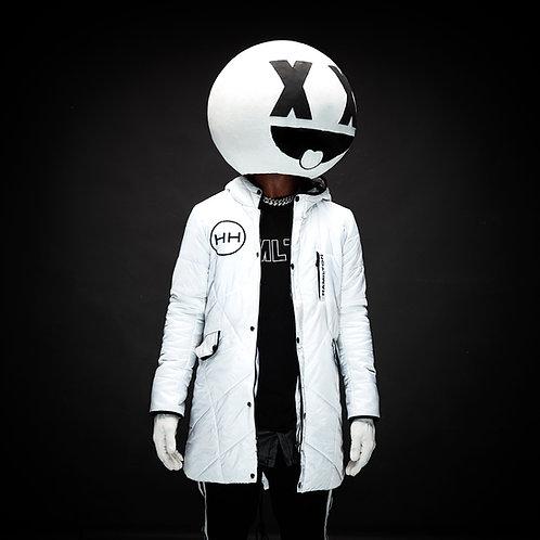 Hollywood Hamilton Hyper White parka jacket front, white parka jacket, hamilton parka jacket
