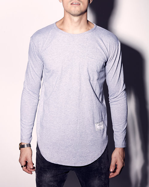 plain long sleeve t-shirt with rounded hem hollywood hamilton clothing front view