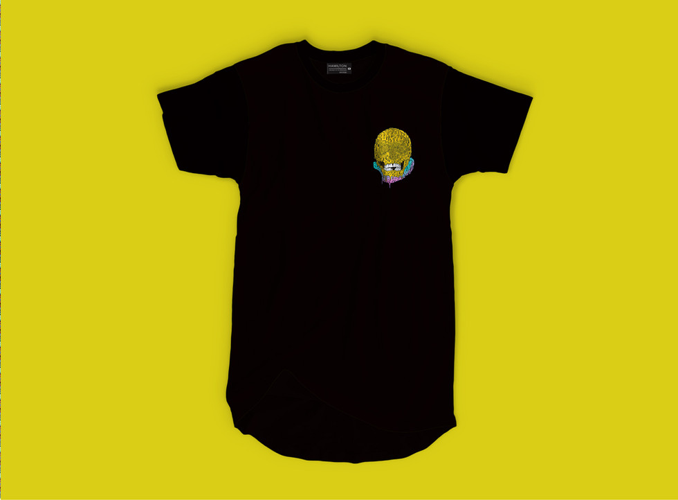 Drippy skull logo on a black tshirt hollywood hamilton