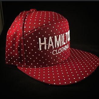 hamilton clothing white embroidery on maroon polka dot snapback