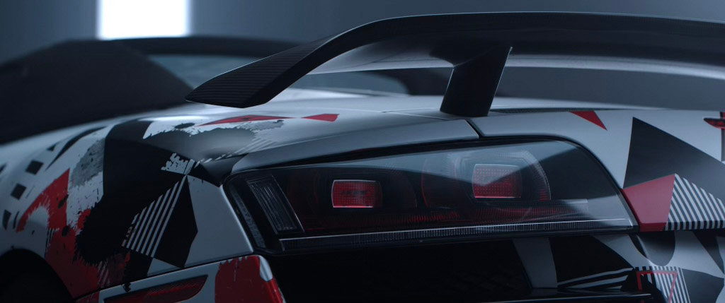 wrapped audi r8 close up tail light