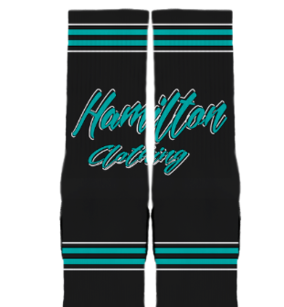 Hamilton Cursive socks black and teal