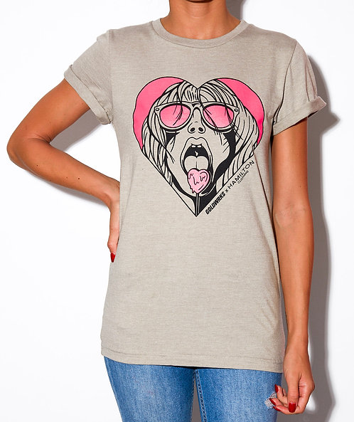 front view of model wearing lollipop girl rolled cuff tee in stone grey