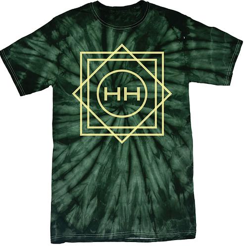 Hollywood Hamilton tie dye tee, green tie dye tshirt, green and yellow tie dye shirt, mens tie dye, streetwear tie dye