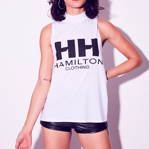 front view of model wearing classic hh turtle neck tank with black logo