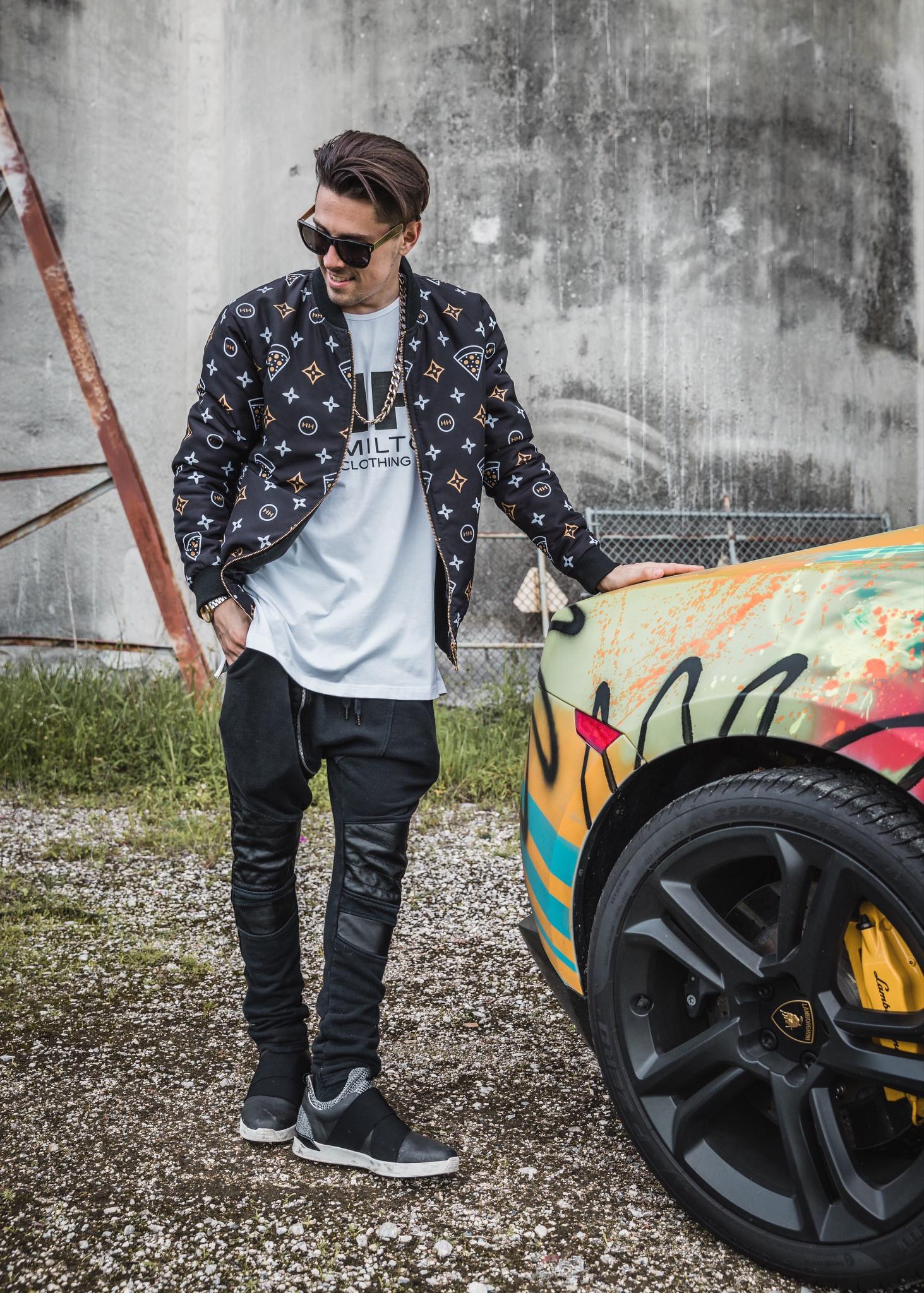 Hollywood Hamilton clothing bomber jacket and custom lamborghini