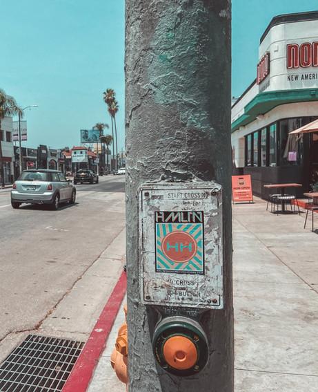 Hollywood hamilton melrose ave sticker bomb los angeles street art
