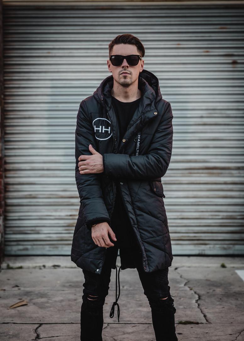 Tampa HH Clothing hyper black parka jacket exteneded length mens jacket