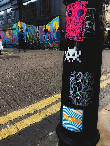 Londo sticker bomb sticker tag space invader ben eine london shoreditch