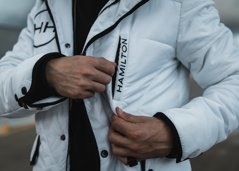 HH Clothing Hollywood Hamilton Hyper White parka jacket left pocket zip with Hamilton embroidery