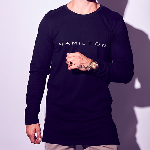 front view hamilton extended side zip tees