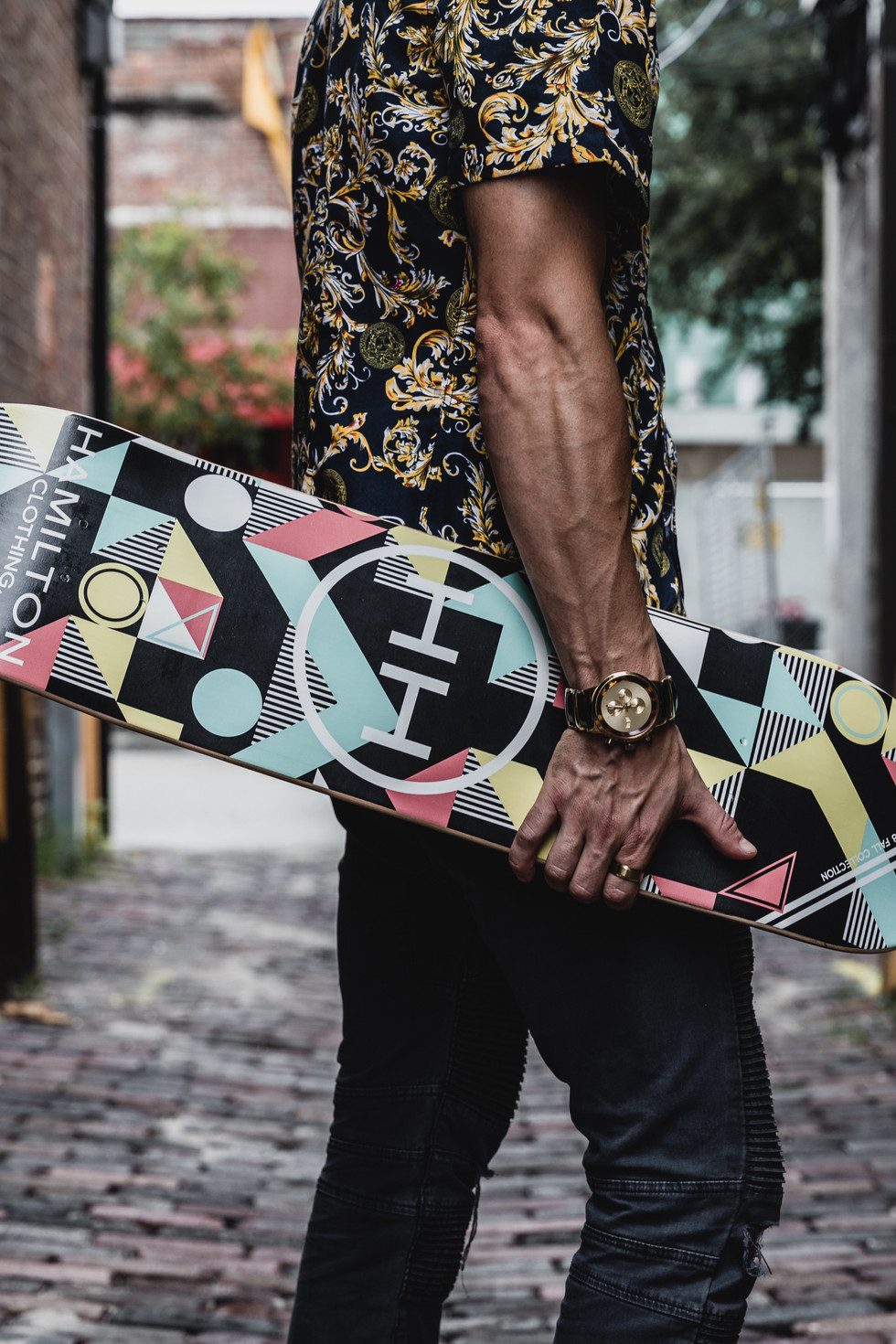 Geometric skateboard deck