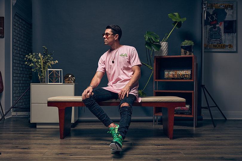 Model wearing Hollywood Hamilton pink lime cursive hmltn tee