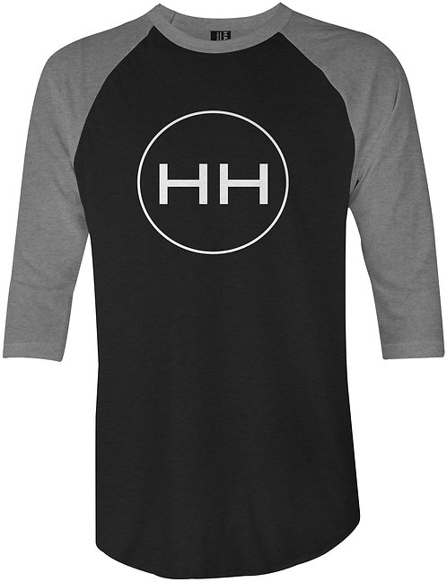 3/4 sleeve hh circle logo raglan front view