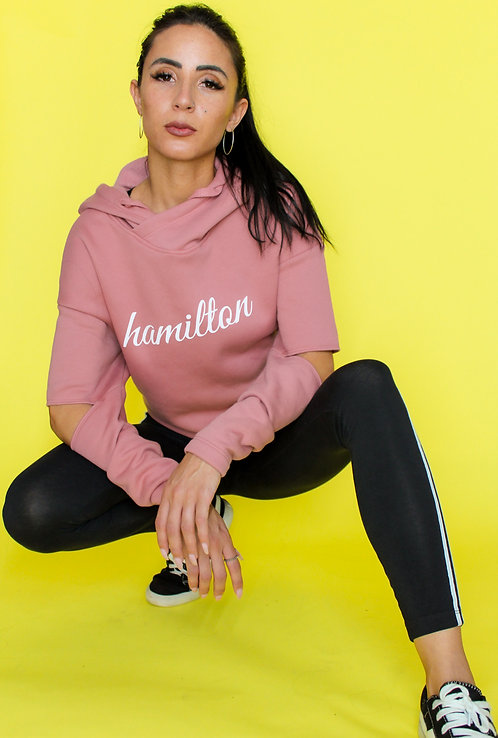 front view of cursive hamilton clothing crop hoodie