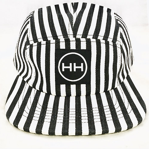Black and white striped 5 panel hat
