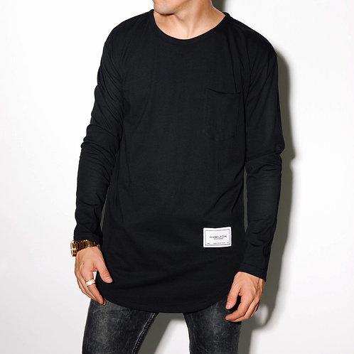 Hollywood Hamilton clothing black long sleeve round hem tee, long sleeve black tee, basic round hem long sleeve tee
