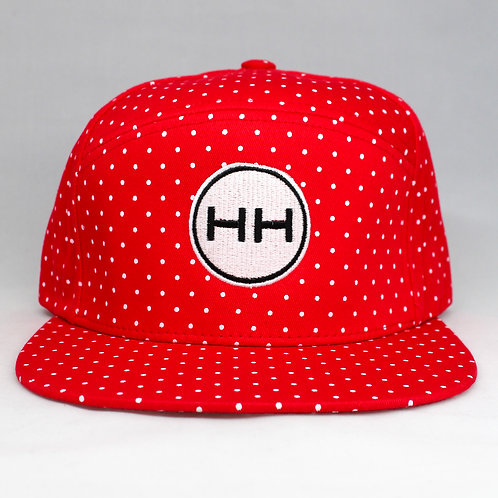 red polka snapback front view
