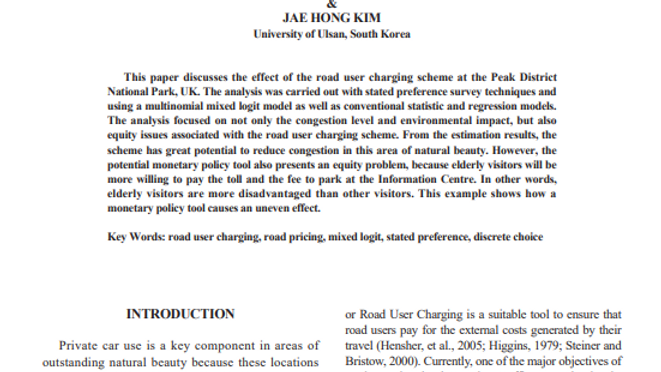 An Analysis of Road User Charging and Road Pricing at The Upper Derwent Valley
