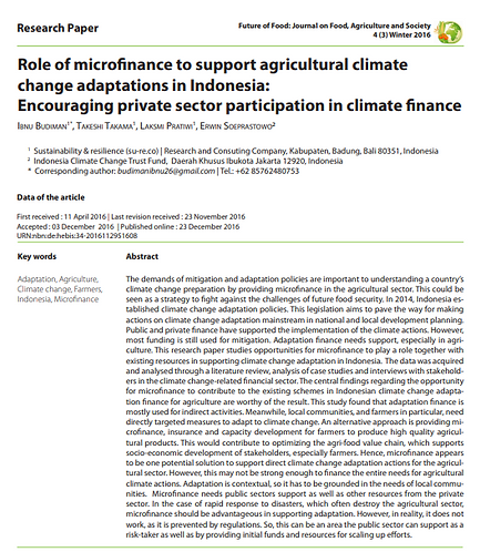 Role of microfinance to support agricultural climate change adaptations