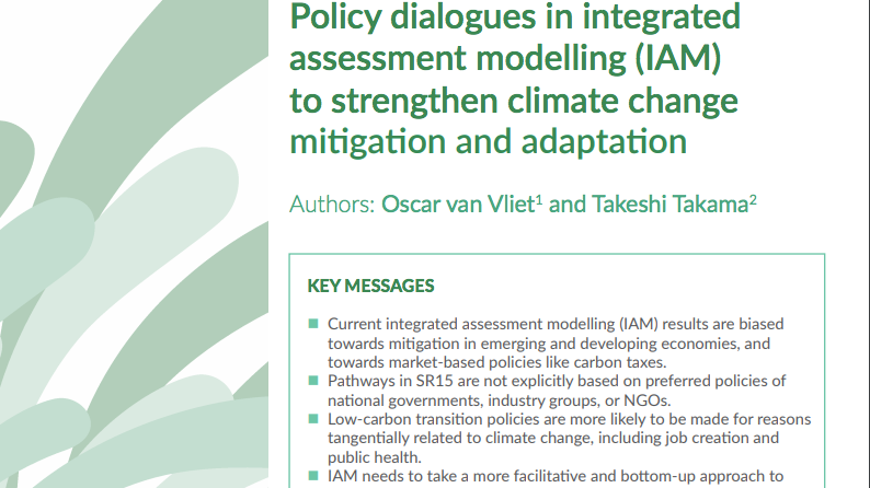 Policy dialogues in integrated assessment modelling (IAM)