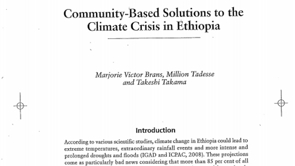 Community-Based Solutions to the Climate Crisis in Ethiopia