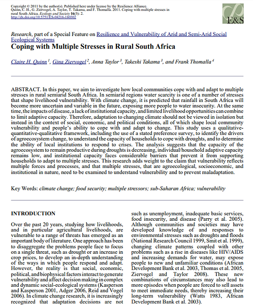 Coping with Multiple Stresses in Rural South Africa