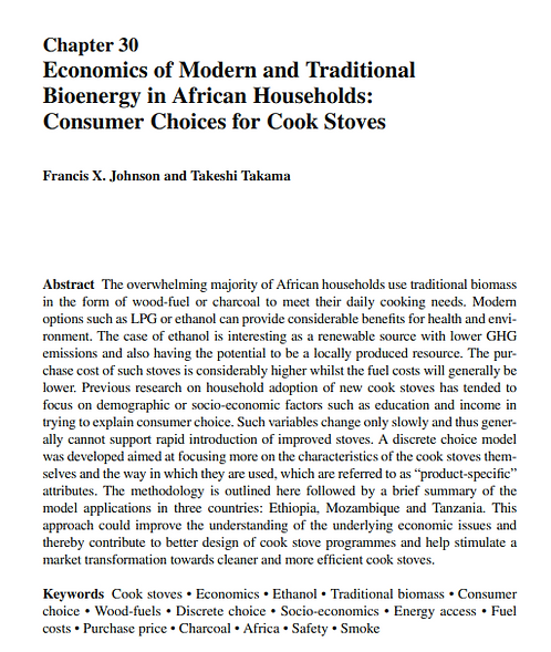 The economics of modern and traditional bioenergy in African households