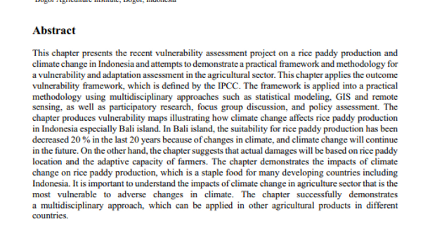Climate Change Vulnerability to Rice Paddy Production in Bali, Indonesia