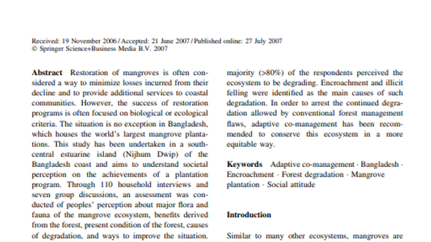 Perceptions of biodiversity, environmental services and conservation of mangrove